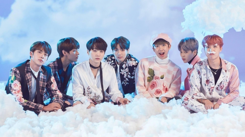BTS Team Sitting Fog Smoke HD Wallpaper