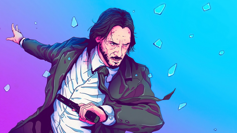John Wick Sketchy Artwork 4K HD Wallpaper