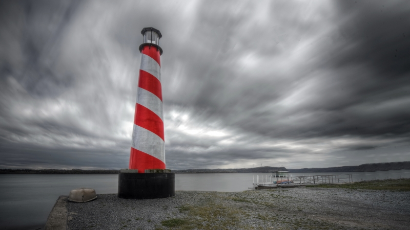 Lighthouse Sky Clouds 4K 5K HD Wallpaper