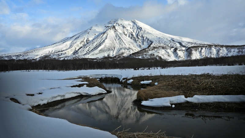 Mountain Covered By Snow With Reflection 4K HD Wallpaper