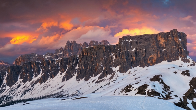 Snow Covered Rocks Under Colourful Clouds 4K HD Wallpaper
