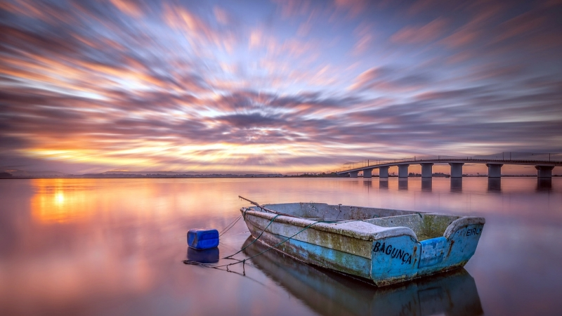 Vehicles Boat Staning Alone Under Sunset HD Wallpaper