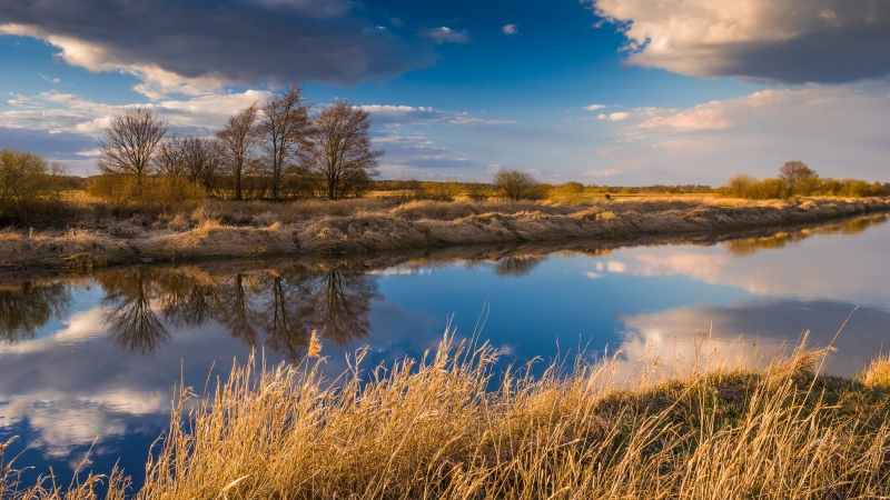 Dry Field Between River With Reflection Of Clouds During Daytime 4K 5K HD Nature Wallpaper
