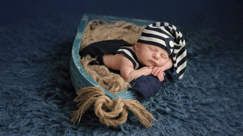 Cute Baby Sleep In Small Boat 4K HD Cute Wallpaper