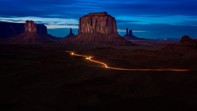 Monument Valley Under Blue Sky During Night Time 4K HD Nature Wallpaper