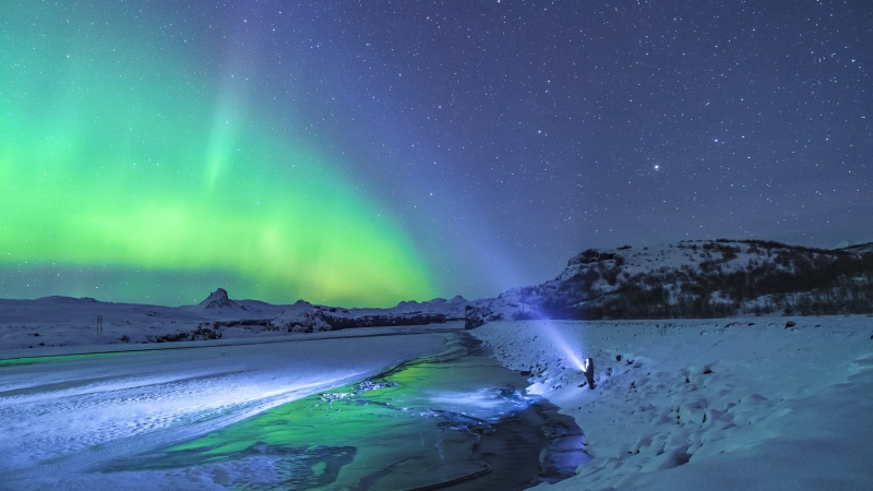 Person Standing Under Aurora Light 4K HD Nature Wallpaper