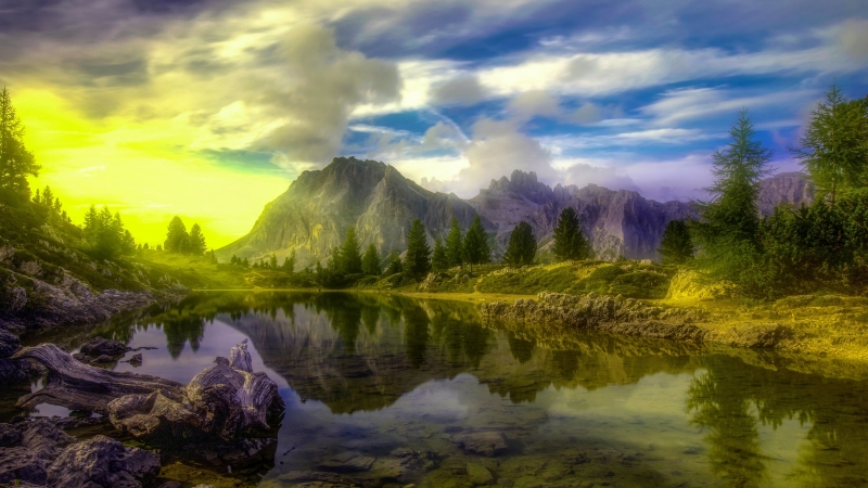 Green Flash Passing Through Lake Dolomites Trees Alps 4K 5K HD Nature Wallpaper