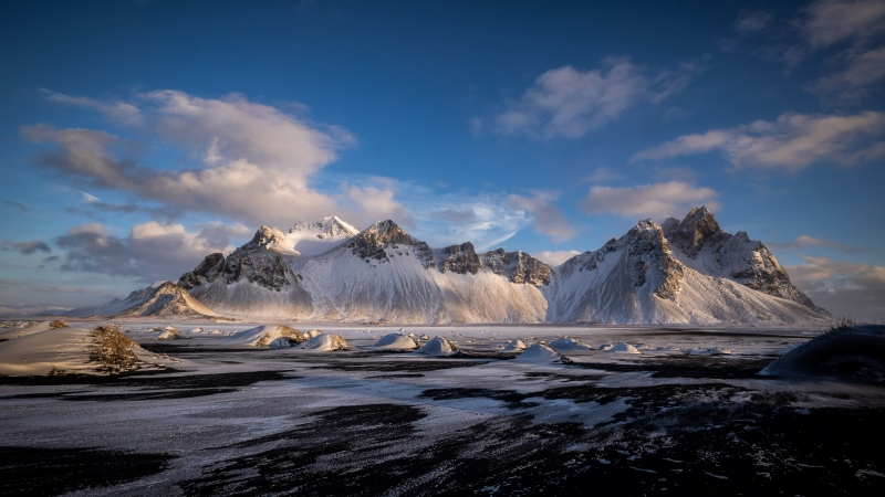 Hofn Vestrahorn Clouds Iceland Snow Covered Mountains 4K HD Nature Wallpaper