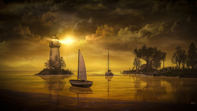 Fantasy Artistic Lighthouse Between Lake 4K HD Nature Wallpaper