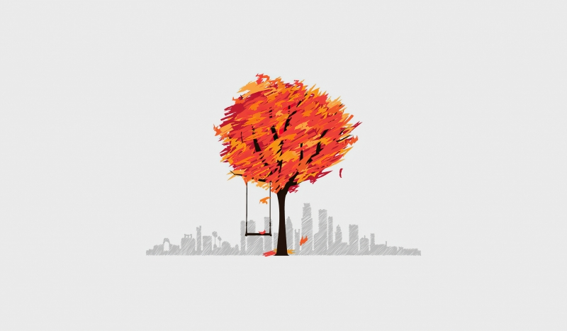 Autumn Tree Minimal Art 4k Wallpaper