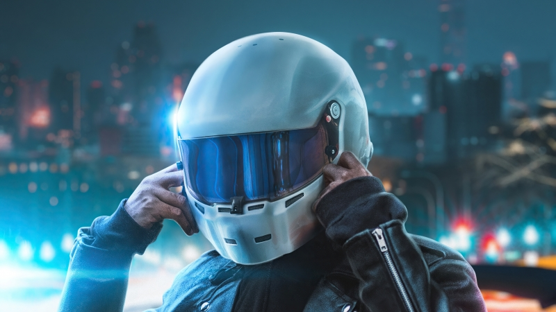 Biker Touching Helmet 4k Wallpaper