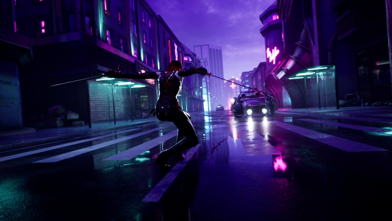 Cyberpunk Guy Sharp Swords Street Lights 4k Wallpaper