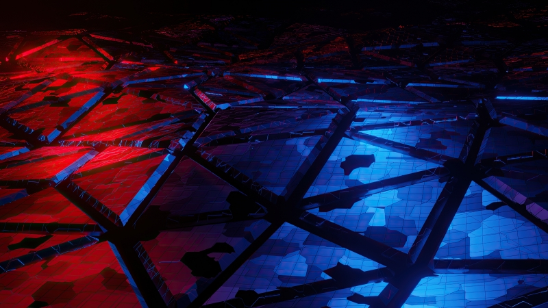 Red And Blue Broken Abstract 4k Wallpaper