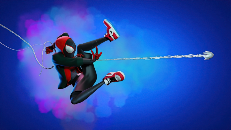 Spider Man Miles Web Shooter Artwork Wallpaper