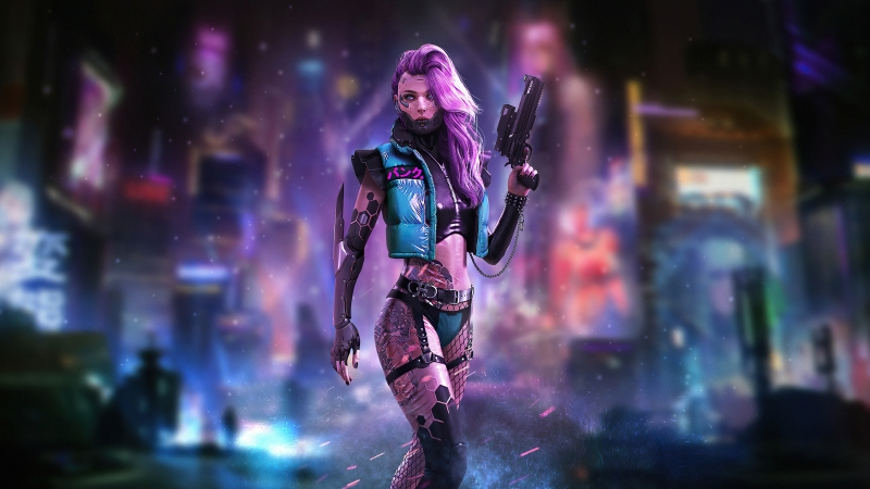 Cyberpunk Tatto Girl With Guns 4k Wallpaper