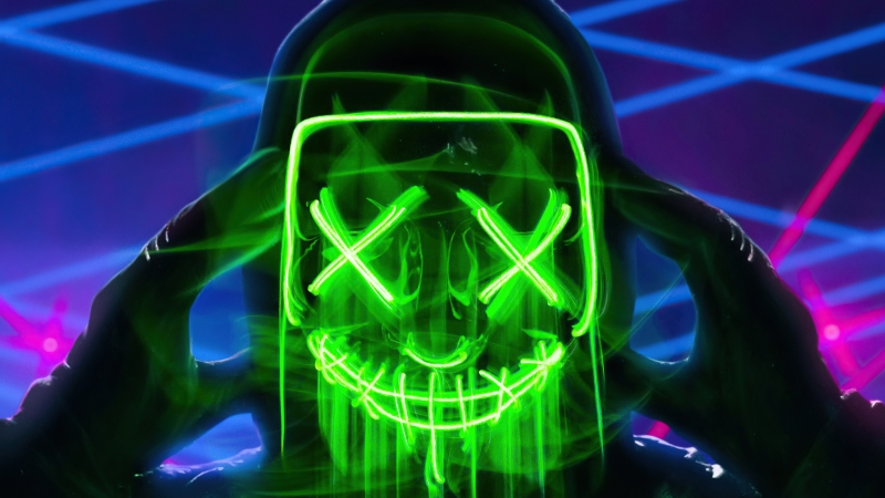 Neon Green Mask Triangle Guy 4k Wallpaper