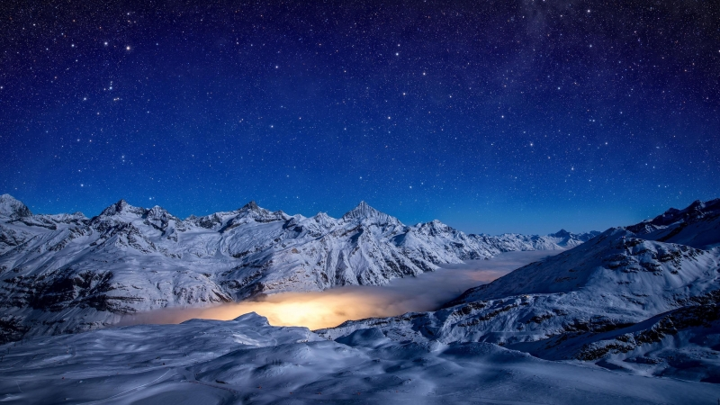 Starry Night Snow Covered Mountains 4k Wallpaper