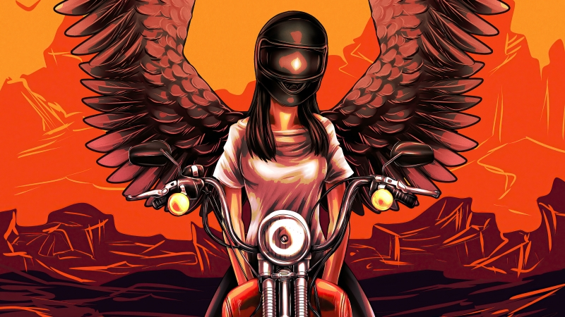 Devil Biker Angel Girl 4k Wallpaper