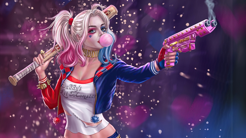 Harley Quinn Gun And Baseball Wallpaper