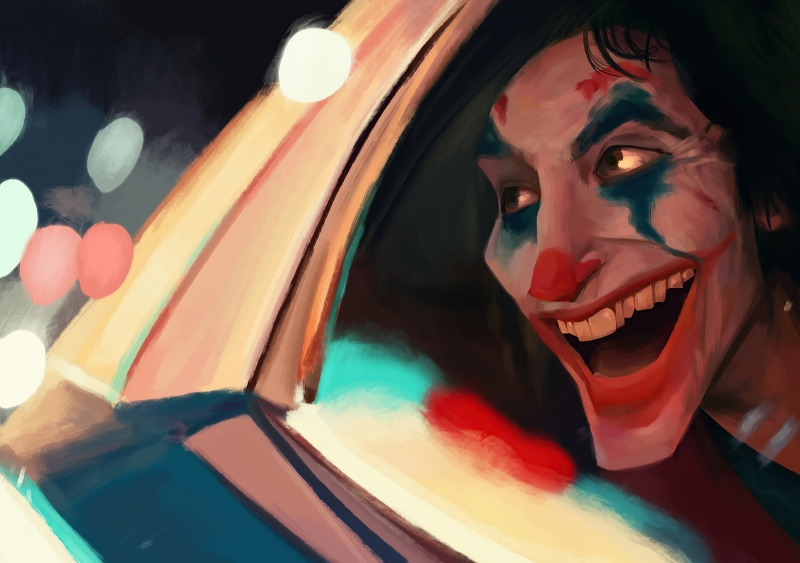 Joker In Police Car Smiling Wallpaper