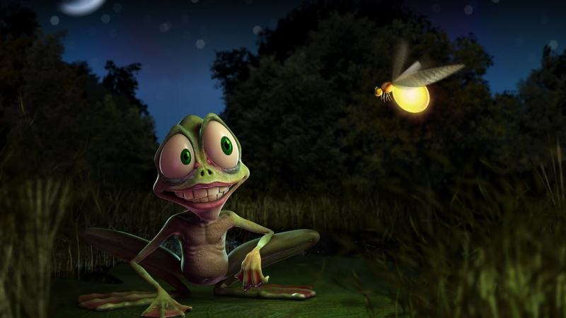Animated Frog And Insects HD Animated Wallpaper