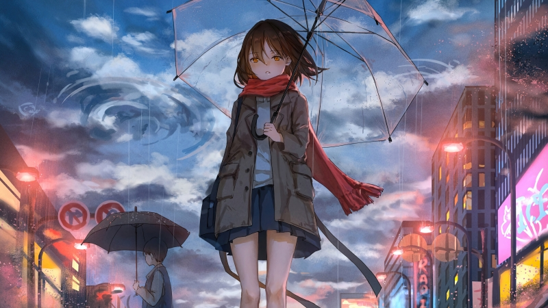 Anime Girl Rain Umbrella Wind 5k Wallpaper