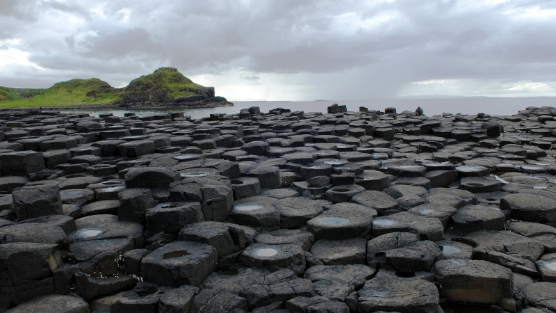 Beach Columnar Basalt Ireland Northern Ireland Rock HD Nature Wallpaper