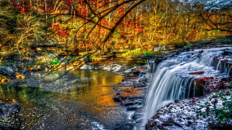 Beautiful Waterfall In Forest Pouring On River 4K HD Nature Wallpaper