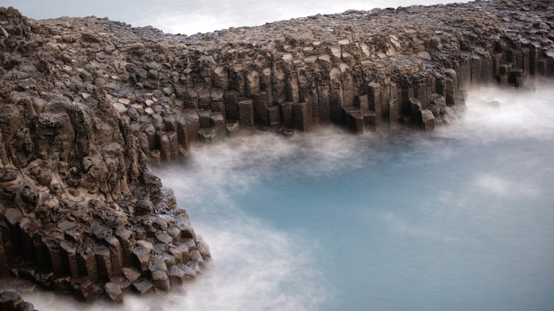 Coast Columnar Basalt Jeju Island Ocean Rock South Korea 4K 8K HD Nature Wallpaper