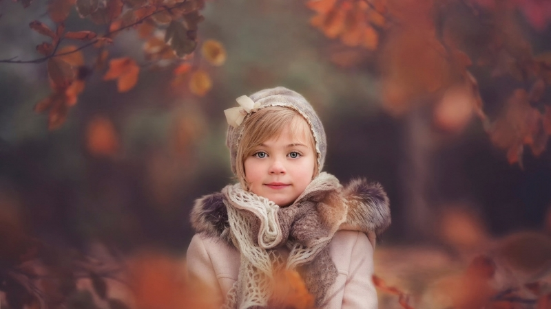 Cute Little Girl Is Wearing Woolen Knitted Scarf And Overcoat In Blur Forest Background HD Cute Wallpaper