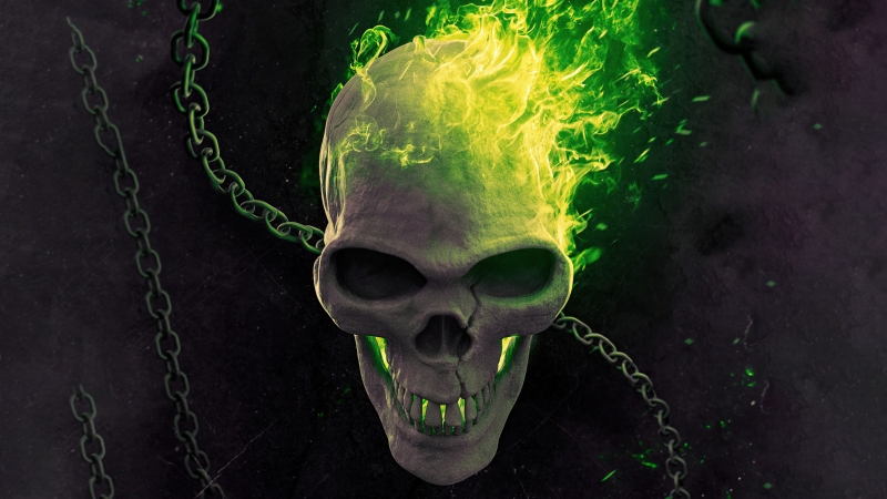 Ghost Rider Green Flame 5k Wallpaper