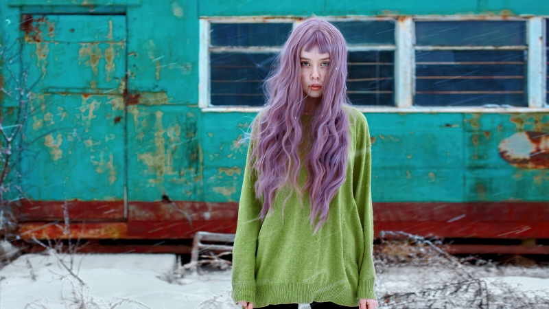 Girl Violet Hairs Snow Outdoor 4k Wallpaper