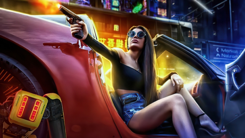 Girl With Gun In Car Pointing Gun Scifi 5k Wallpaper