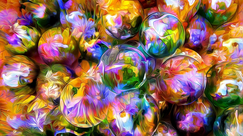 Rendering Balls Blurred Petals Reflection HD Abstract Wallpaper