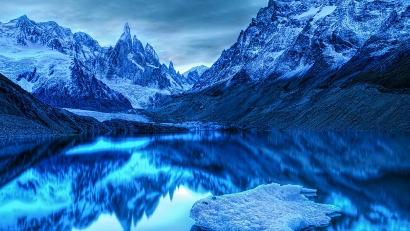 Snow Ice Mountains Reflection On Lake HD Nature Wallpaper