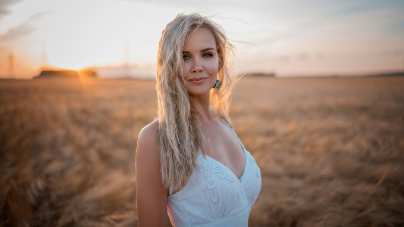 White Dress Gray Eyes Hair In Face 4k Wallpaper